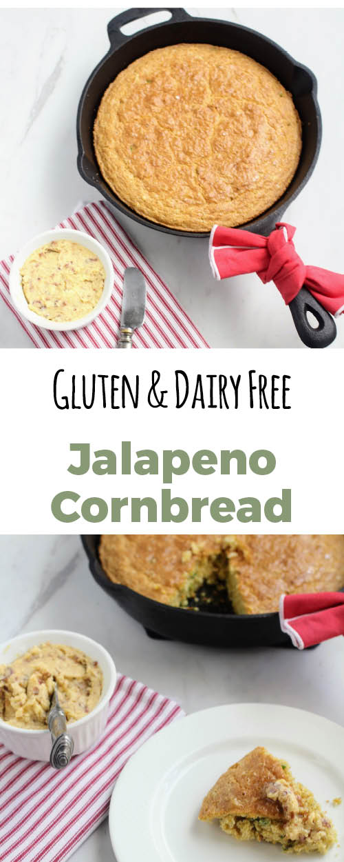 Allergy friendly jalapeno buttermilk cornbread that is gluten free and dairy free.