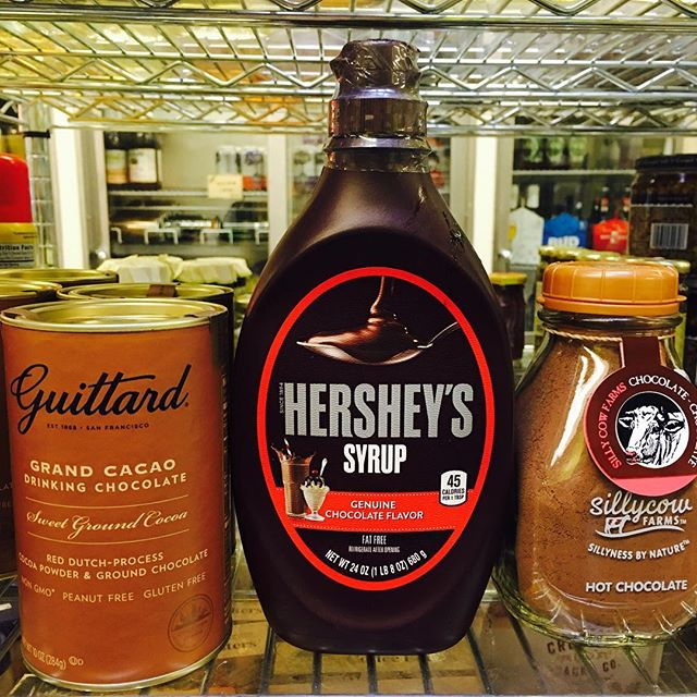 We LOVE hot chocolate with all the fixin's!  #hotchocolate #elmstreetmarket #friday #wintertreat #hersheys #guittard #sillycow #stockbridgema #berkshires
