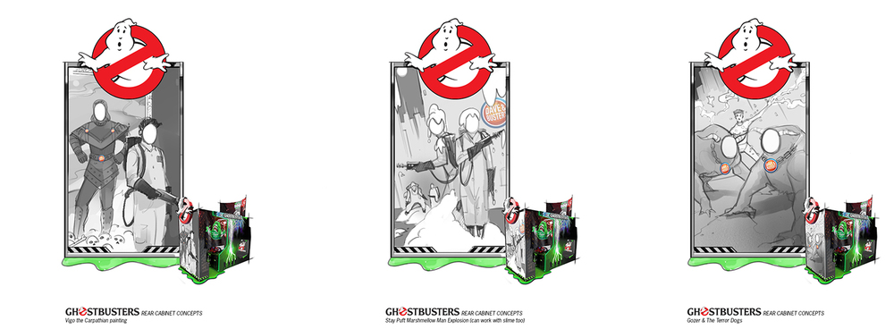 Some early concepts for the Ghostbusters arcade cabinet!