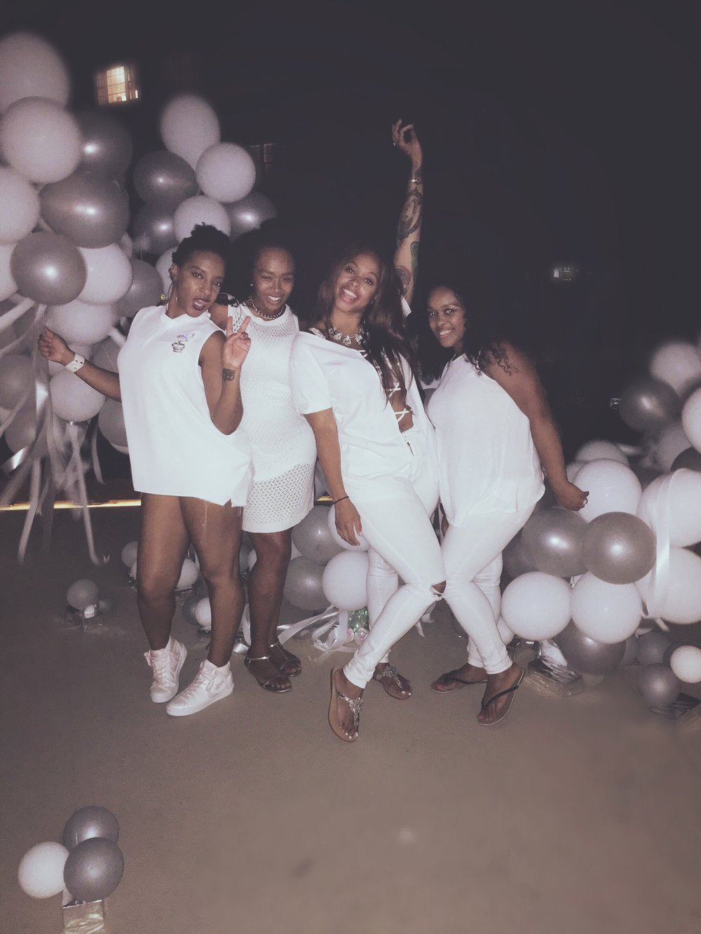 When the night was over, we posed with the balloons. Queen, Shenelle, Me & Sheena