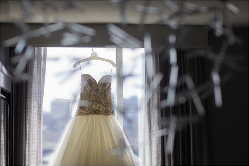 Bridal gown with Boston skyline.