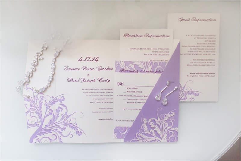 Wedding invitations for a Royal Sonesta wedding.