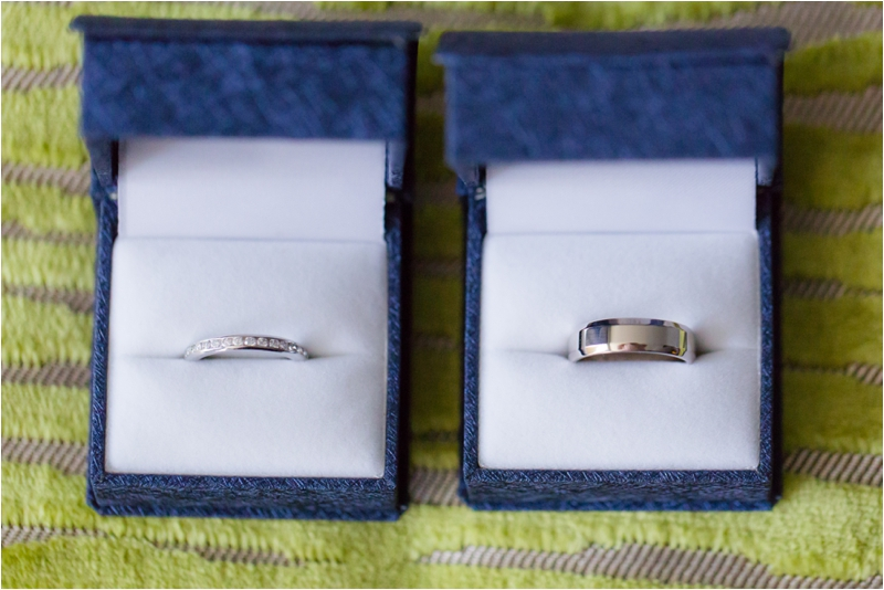 Wedding rings in box for a Royal Sonesta wedding.
