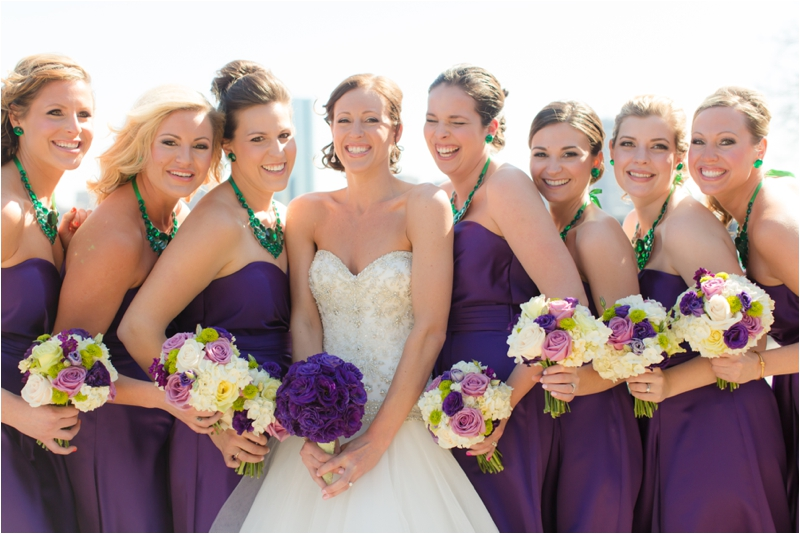 Bridal party with the Boston skyline photographed by Deborah Zoe Photography