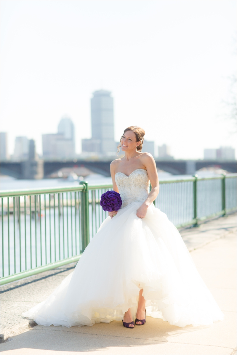 Bride with the Boston skyline photographed by Deborah Zoe Photography