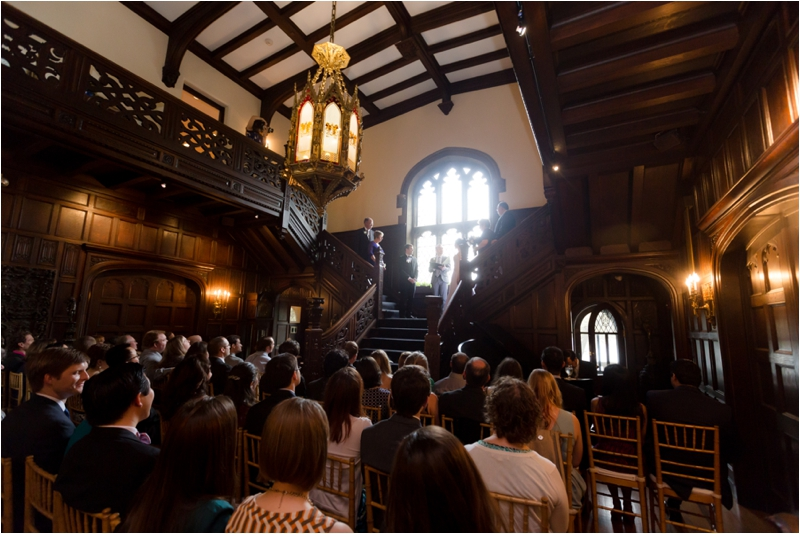Wedding ceremony at the BU Castle in Boston.