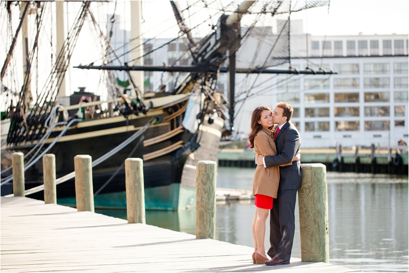 couple in front of Friendship in Salem, Massachusetts