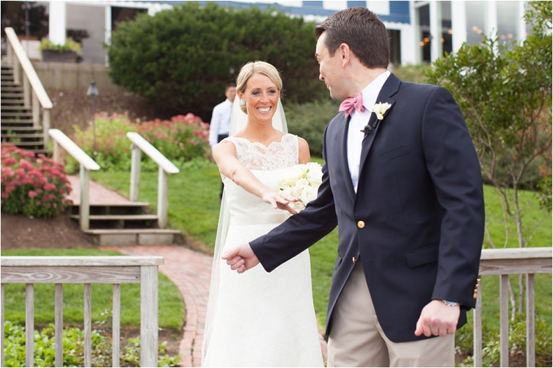 bride meets groom for sneakpeak before Cape Cod ceremony