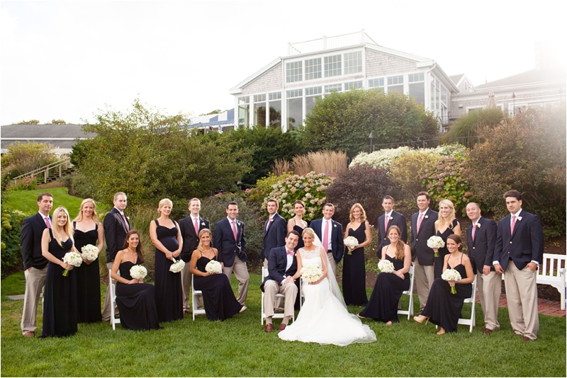 large wedding party posed for cape cod wedding formal shots