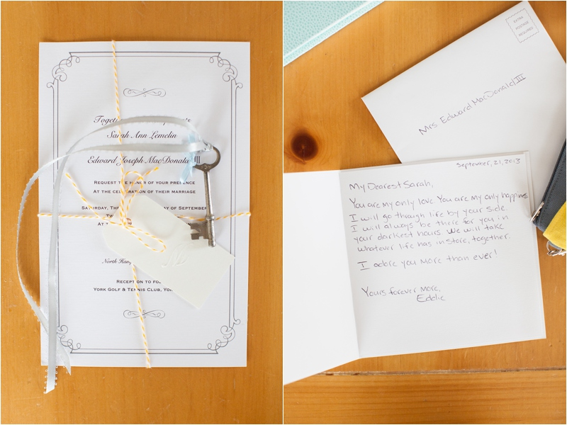 love letters from groom to bride on Maine wedding day
