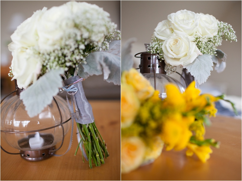 daffodil bouquet and nautical lights for seacoast wedding decor