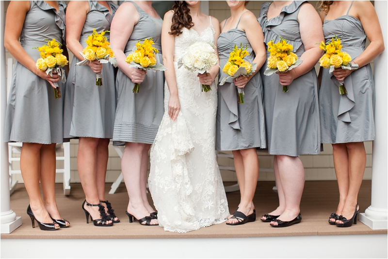 bridal party with yellow and grey coastal inspired color scheme