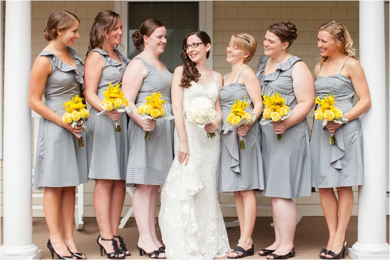 Bridal party portraits in seacoast cottage