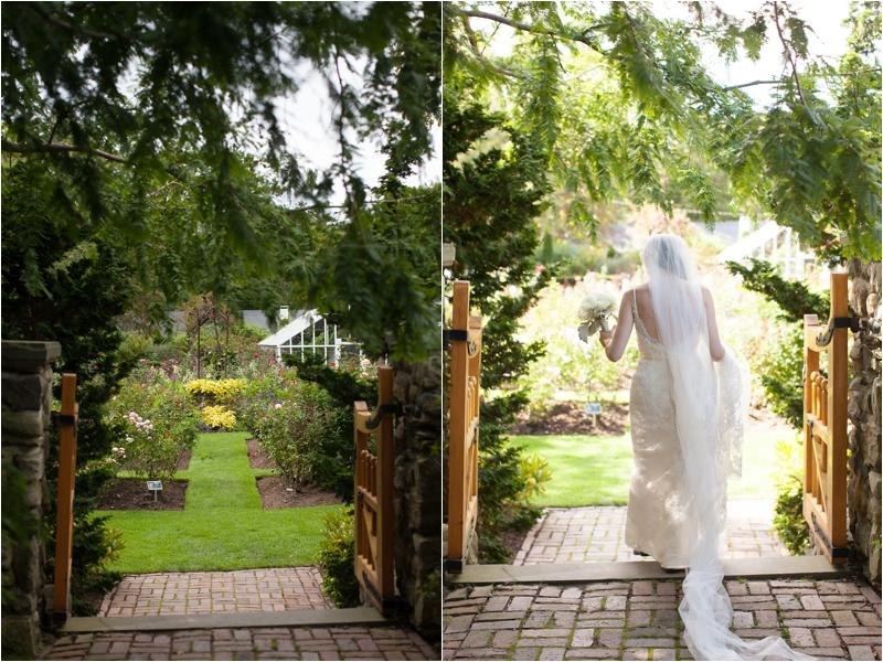 Bride enters fuller garden for portrait session