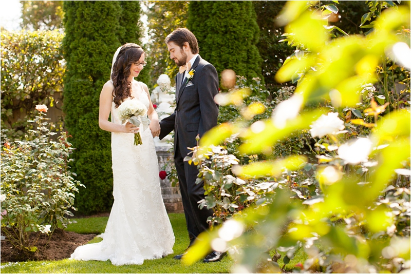 bride and groom portraits in north hampton garden