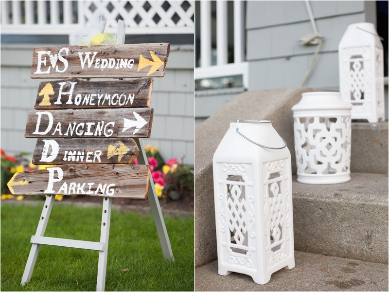 signs mark the way to maine wedding reception