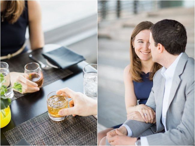 Engagement session at Bar Louis, Boston photographed by Deborah Zoe Photography.