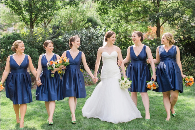 Blue taffeta Bridesmaid dress photographed by Deborah Zoe Photography.