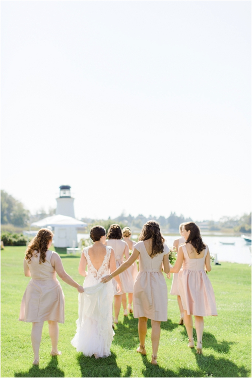 Pink taffeta bridesmaid dresses for coastal Maine wedding photographed by Deborah Zoe Photography.