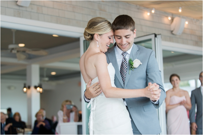 Couple embrace during First Dance on wedding day at Chatham Bars Inn photographed by Deborah Zoe Pho