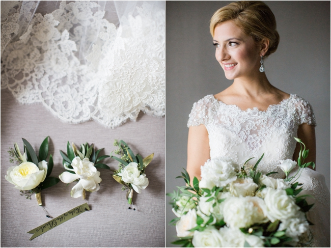 Cream florals and lace wedding gown photographed by Deborah Zoe Photography.