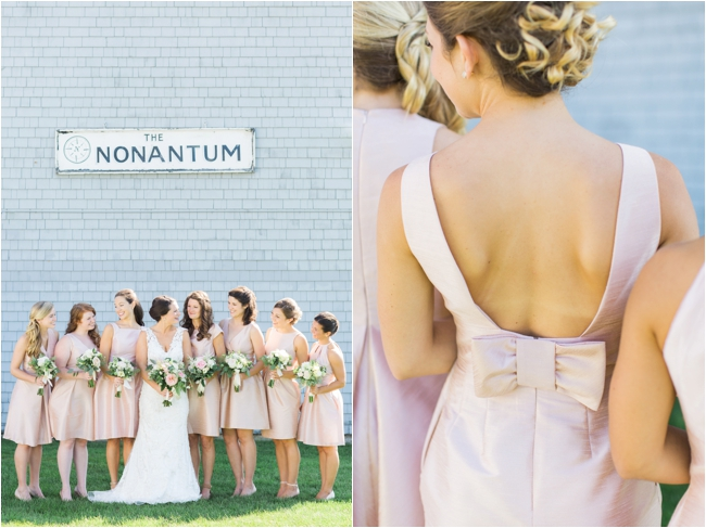 Pink bridesmaids Nonantum Resort Coastal Maine photographed by Deborah Zoe Photography.