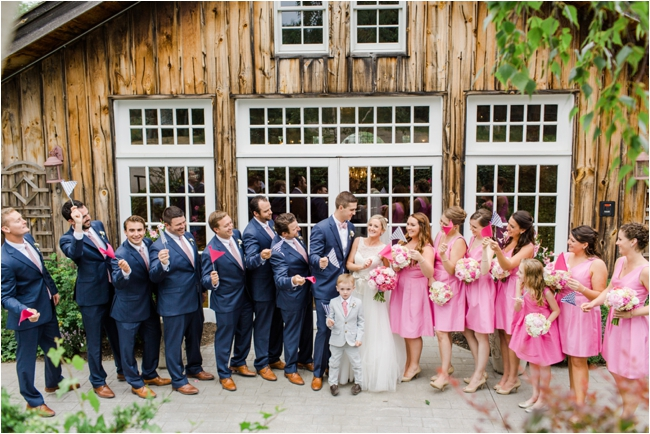 Hot pink and navy wedding details Boston Wedding photographed by Deborah Zoe Photography.