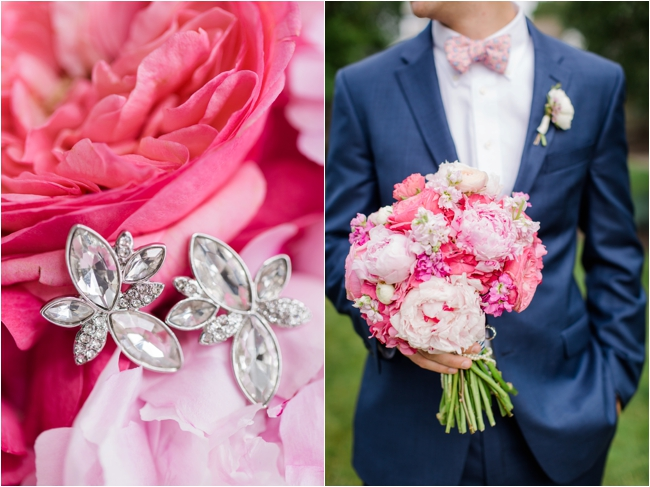 Pink and navy wedding details for fourth of july wedding photographed by Deborah Zoe Photography.