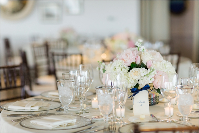 Preppy navy and pink wedding details at Chatham Bars Inn photographed by Deborah Zoe Photography.