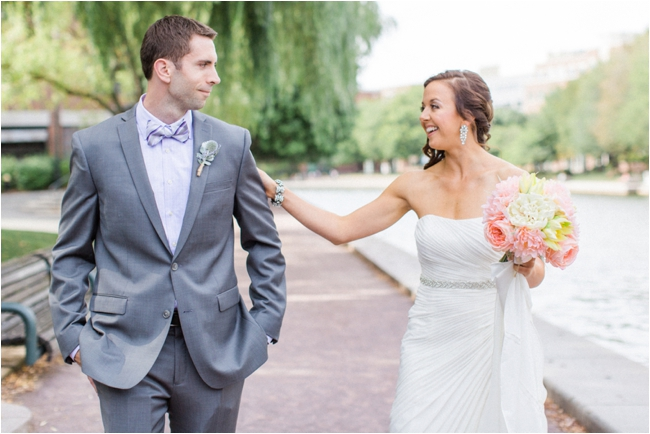 Couple enjoy their First Look in Boston photographed by Deborah Zoe Photography.