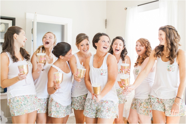 Bride with her bridesmaids in cute pjs photographed by Deborah Zoe Photography.