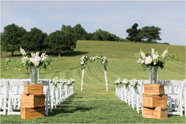 Ceremony decor at Gibbet Hill photographed by Deborah Zoe Photography.