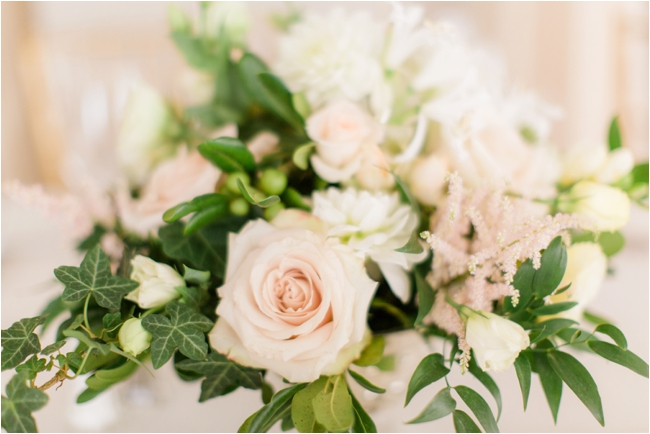 Cream and pink florals reception decor photographed by Deborah Zoe Photography.