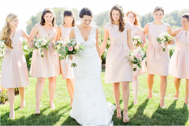 Bride with Bridesmaids in pink taffeta dresses for Maine wedding photographed by Deborah Zoe Photogr