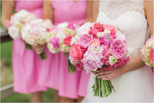 Pink wedding details photographed by Deborah Zoe Photography.