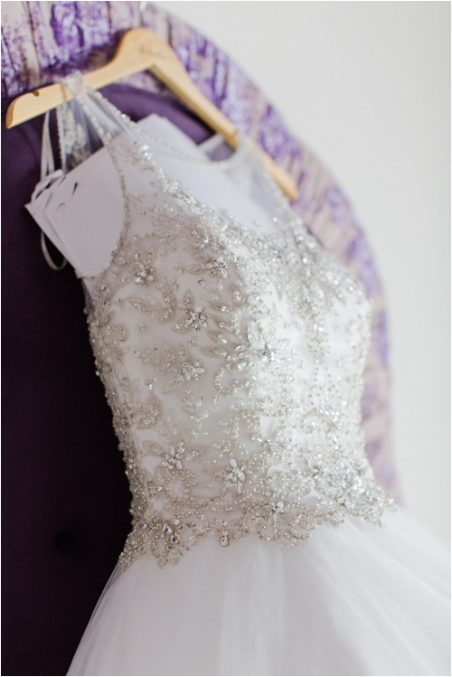 Detailed bodice on wedding dress photographed by Deborah Zoe Photography.
