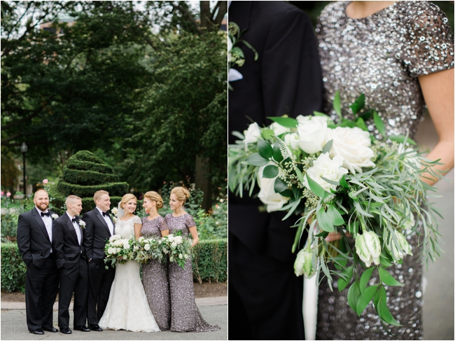 Green and sparkly wedding details Boston Public Garden photographed by Deborah Zoe Photography.