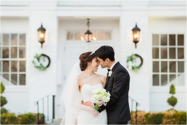 Couple embrace on wedding day Topsfield Commons photographed by Deborah Zoe Photography.