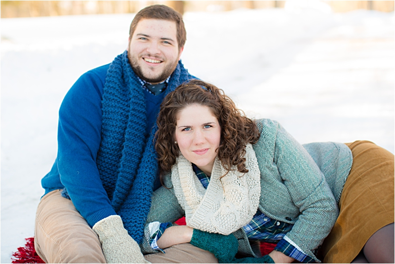 hot cocoa and couple winter engagement session