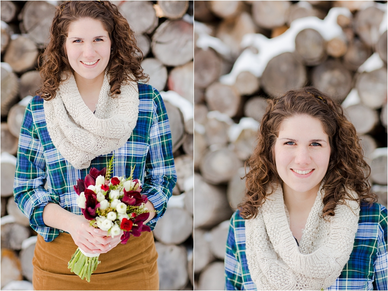 winter bouquet from Whim Events for engagement session deborah zoe photography