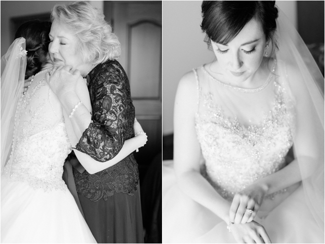 Bride getting ready at Mirbeau Inn & Spa by Deborah Zoe Photography.