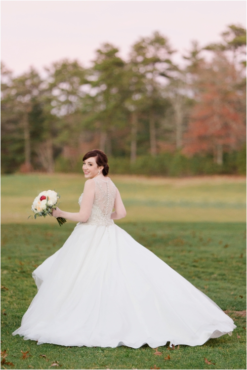Bride in flowing tulle skirt at Pinehills Golf Club photographed by Deborah Zoe Photography.