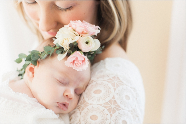 Floral inspired newborn session photographed by Deborah Zoe Photography.