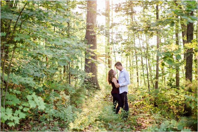 New Hampshire engagement session in the woods photographed by Deborah Zoe Photography.