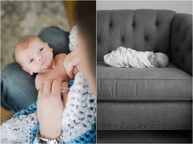 At home winter newborn session photographed by Deborah Zoe Photography.