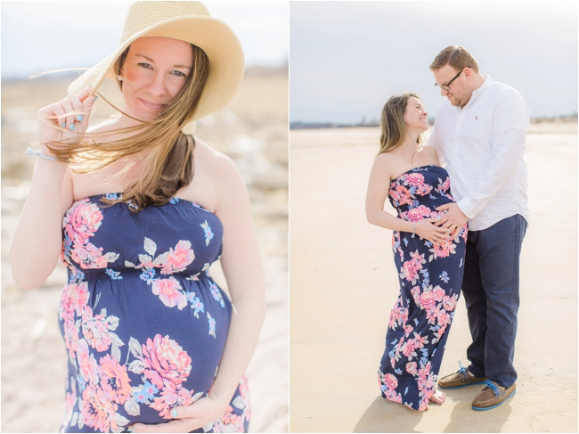 Maternity portraits at Plum Island photographed by Deborah Zoe Photography.
