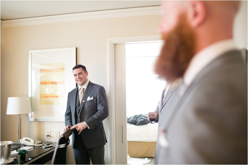 Bride and Groom getting ready at the Four Seasons in downtown Chicago
