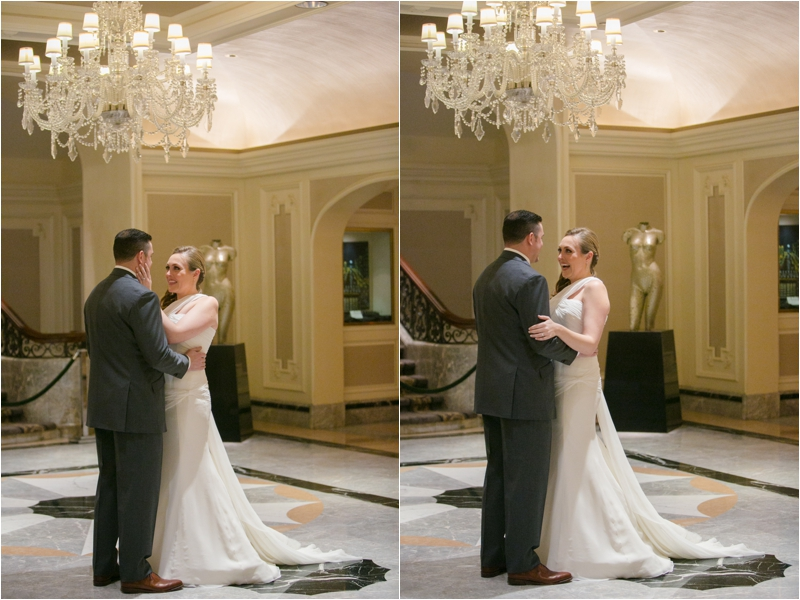 Bride and Groom have a First Look at the Four Seasons in downtown Chicago
