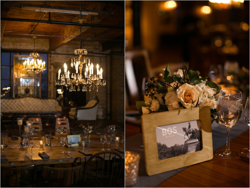Wedding decor at Salvage One in Chicago with florals by Pollen