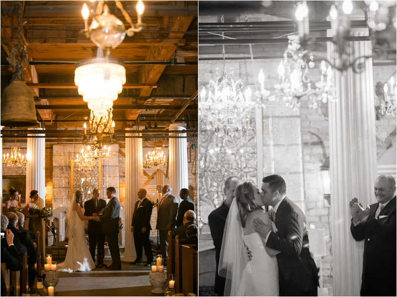 Winter wedding ceremony at Salvage One in Chicago